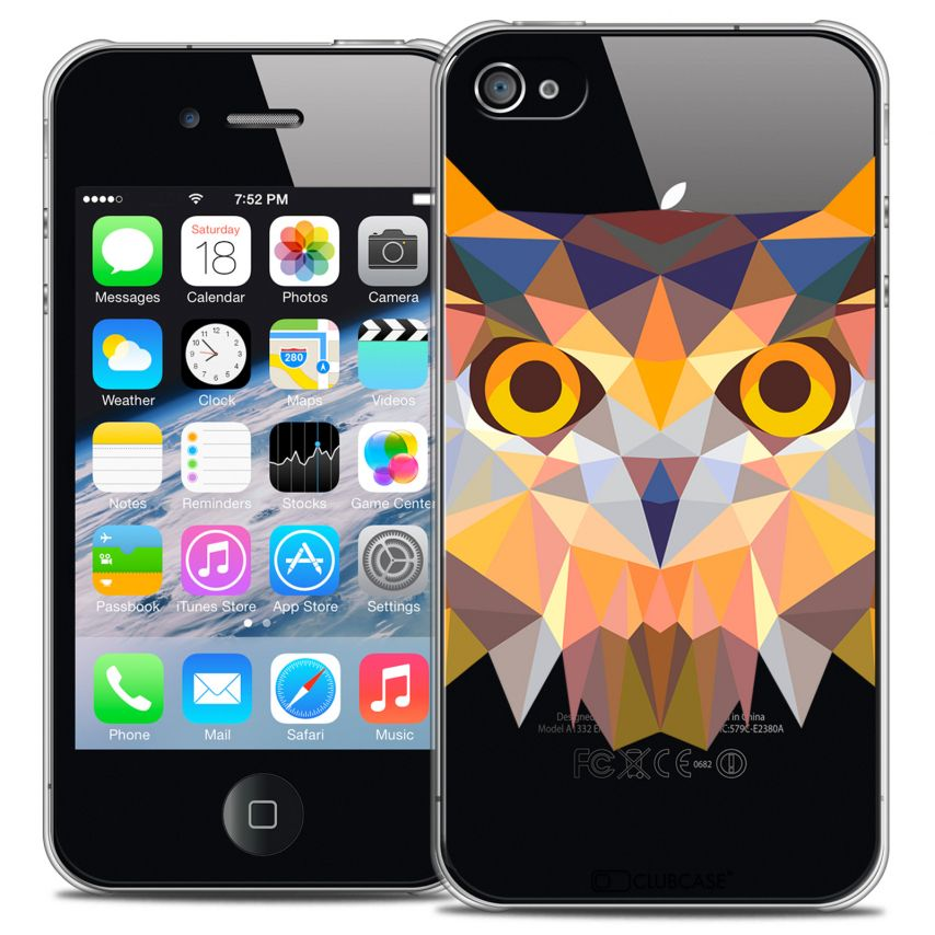 Coque Crystal iPhone 4/4S Extra Fine Polygon Animals - Hibou