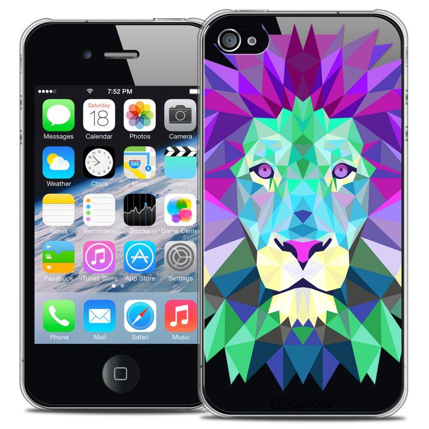 Coque Crystal iPhone 4/4S Extra Fine Polygon Animals - Lion