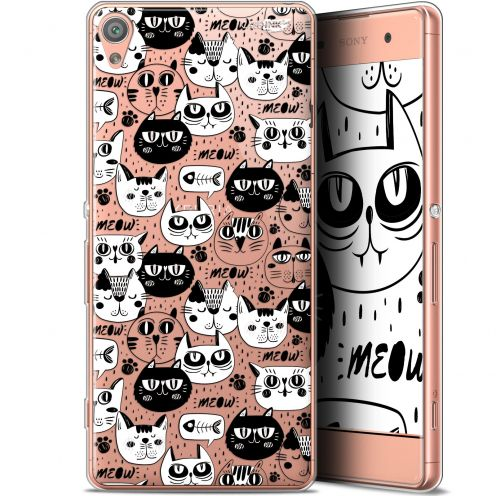 "Coque Gel Sony Xperia XA (5"") Extra Fine Motif - Chat Noir Chat Blanc"