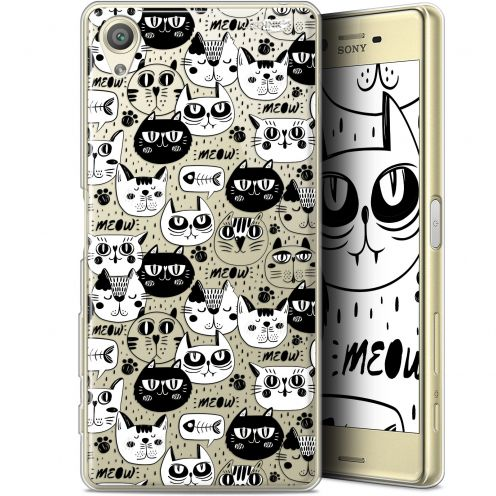 "Coque Gel Sony Xperia X (5"") Extra Fine Motif - Chat Noir Chat Blanc"