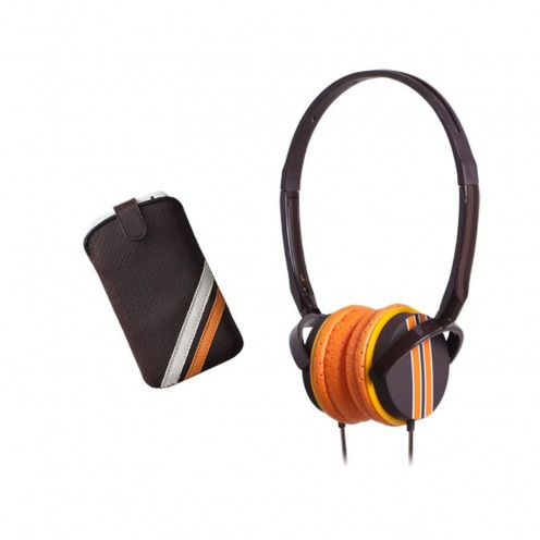 Coffret casque audio avec étui Blueway® So Racing Vintage edition marron
