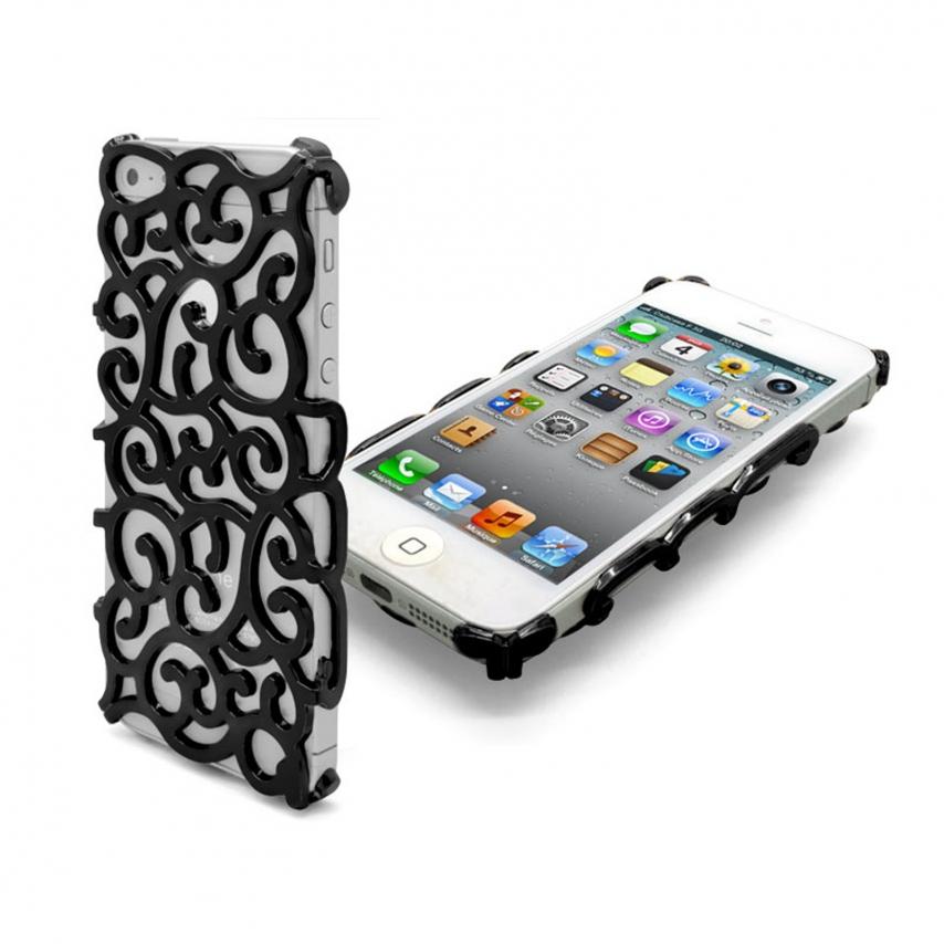 Vue complémentaire de Coque iPhone 5 Rococo Design Noire