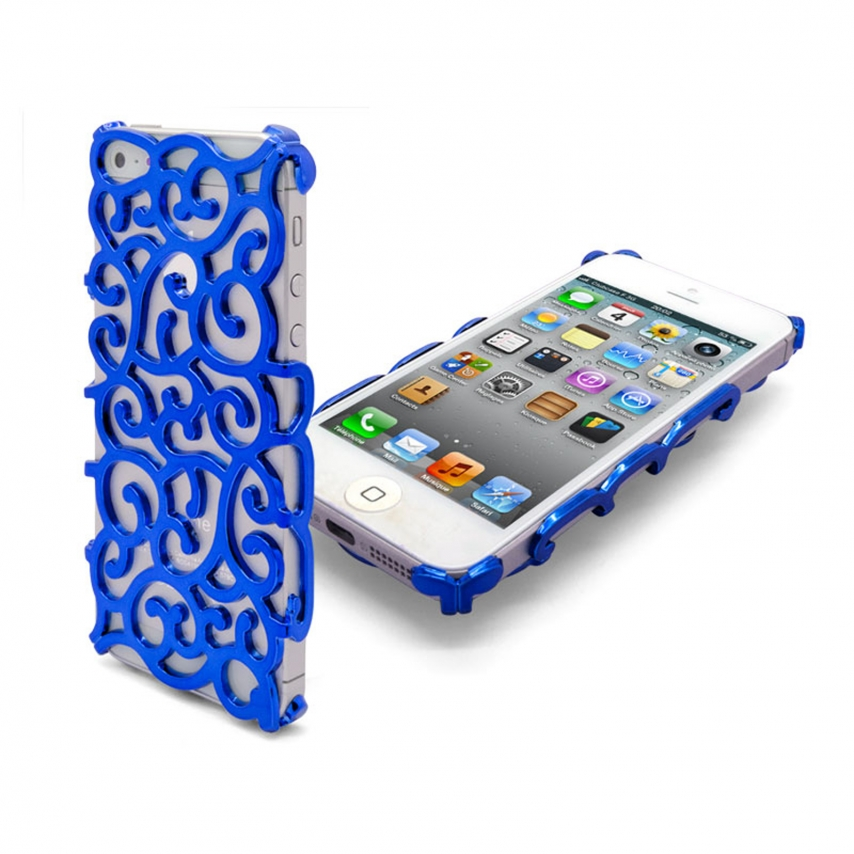 Vue complémentaire de Coque iPhone 5 Rococo Design Bleue