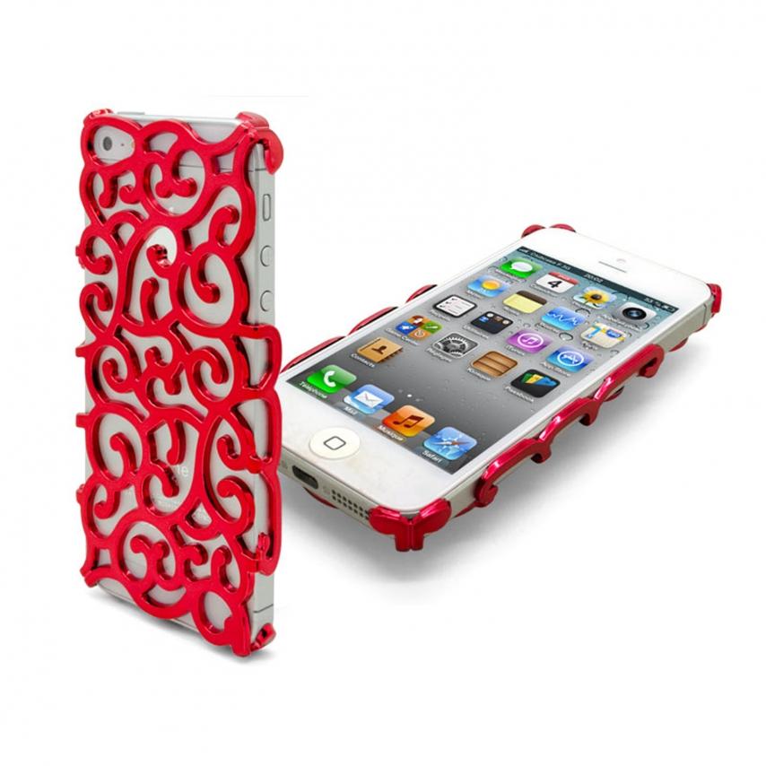 Vue complémentaire de Coque iPhone 5 Rococo Design Rouge