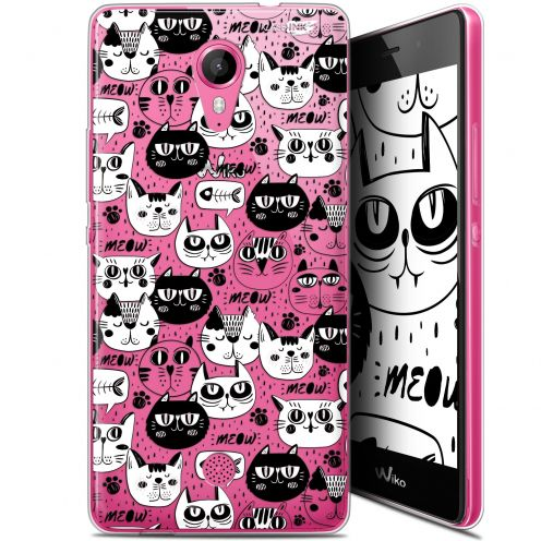 """Coque Gel Wiko Tommy (5"""") Extra Fine Motif -  Chat Noir Chat Blanc"""
