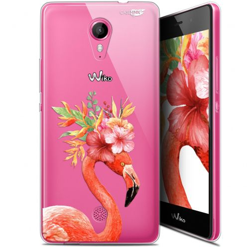 """Coque Gel Wiko Tommy (5"""") Extra Fine Motif -  Flamant Rose Fleuri"""