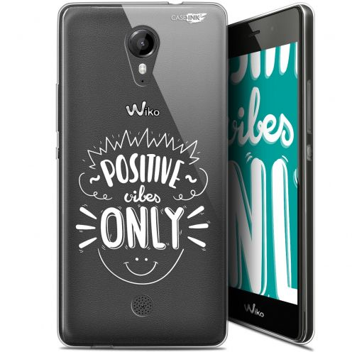 """Coque Gel Wiko Tommy (5"""") Extra Fine Motif -  Positive Vibes Only"""