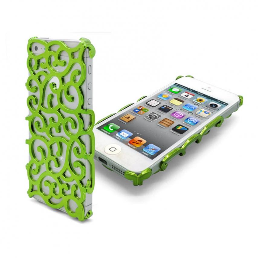Vue complémentaire de Coque iPhone 5 Rococo Design Verte