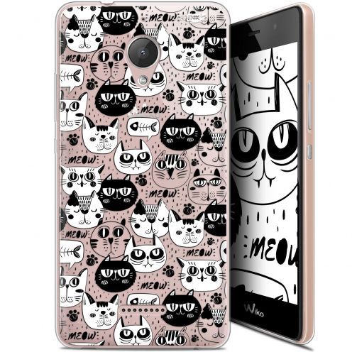 "Coque Gel Wiko Tommy 2 Plus (5.5"") Extra Fine Motif -  Chat Noir Chat Blanc"