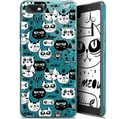 "Coque Gel Wiko Tommy 3 (5.45"") Extra Fine Motif - Chat Noir Chat Blanc"