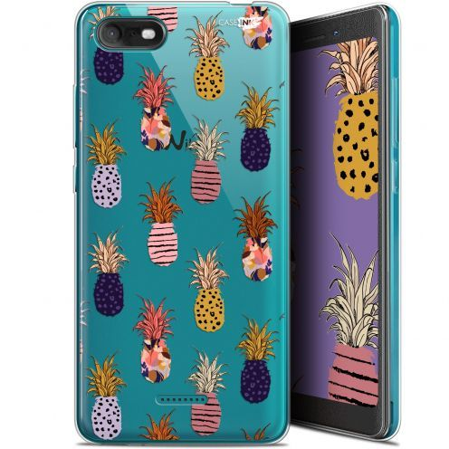 """Coque Gel Wiko Tommy 3 (5.45"""") Extra Fine Motif - Ananas Gold"""