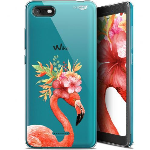 """Coque Gel Wiko Tommy 3 (5.45"""") Extra Fine Motif - Flamant Rose Fleuri"""