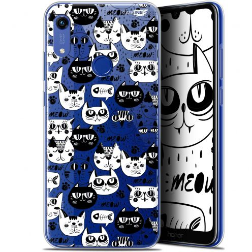 "Coque Gel Huawei Honor 8A (6.1"") Extra Fine Motif - Chat Noir Chat Blanc"