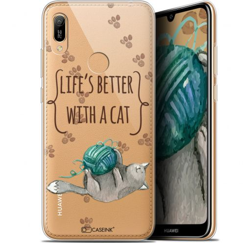 "Coque Gel Huawei Y6 2019 (6.1"") Extra Fine Quote - Life's Better With a Cat"
