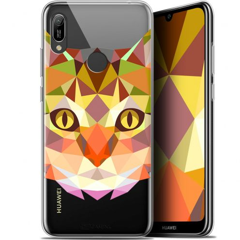 "Coque Gel Huawei Y6 2019 (6.1"") Extra Fine Polygon Animals - Chat"