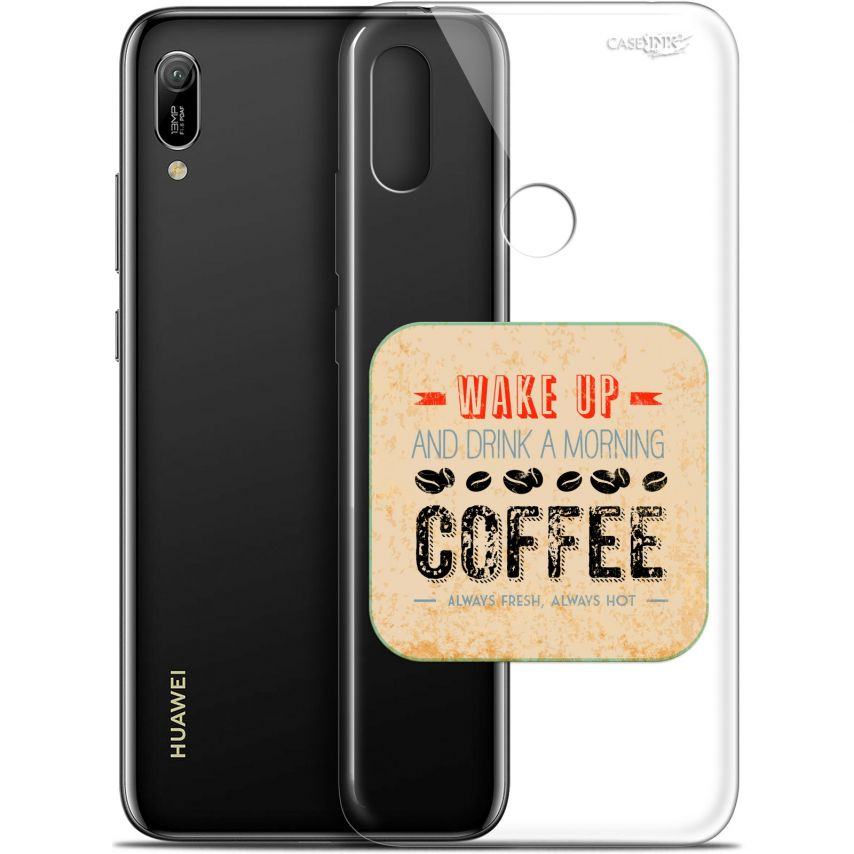 """Coque Gel Huawei Y6 2019 (6.1"""") Extra Fine Motif - Wake Up With Coffee"""