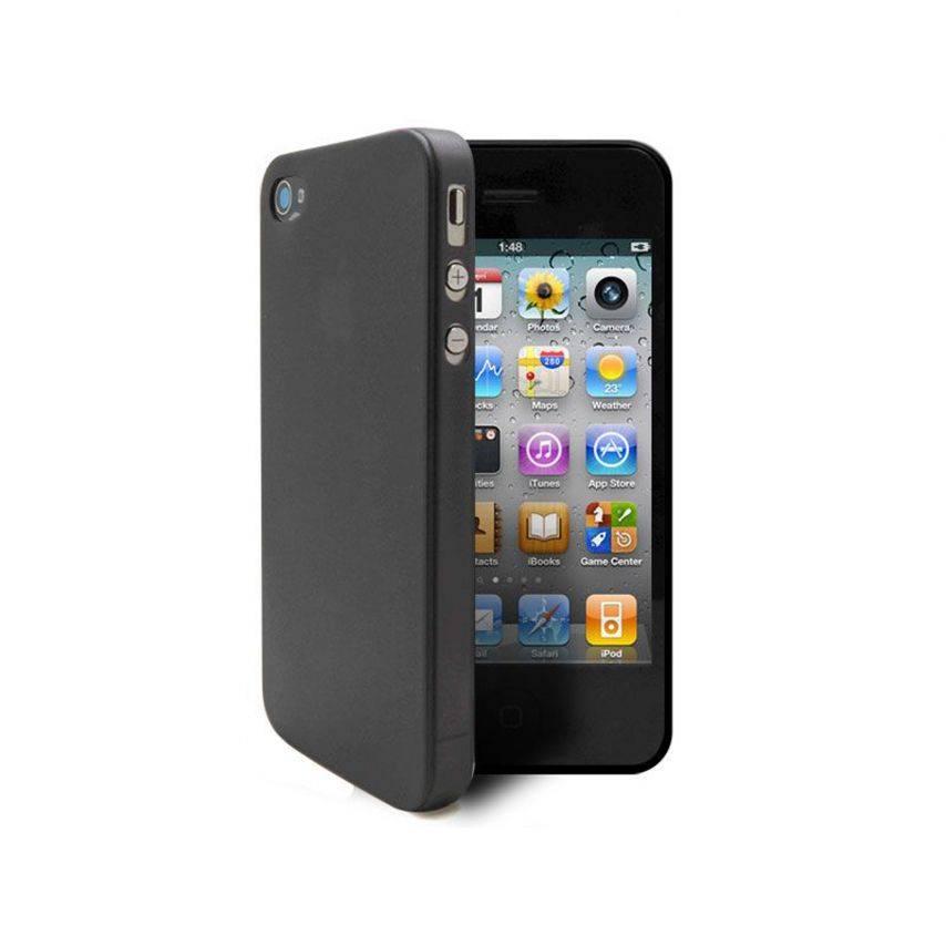Vue complémentaire de Coque Ultra Fine 0.3mm Frost iPhone 4/4S Noire