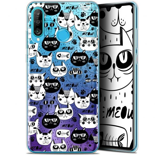 "Coque Gel Huawei P30 Lite (6.2"") Extra Fine Motif - Chat Noir Chat Blanc"
