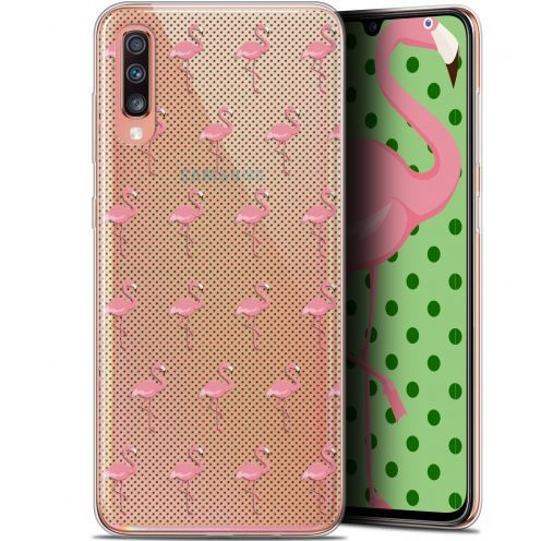 "Coque Gel Samsung Galaxy A70 (6.7"") Extra Fine Pattern - Les flamants Roses Dots"