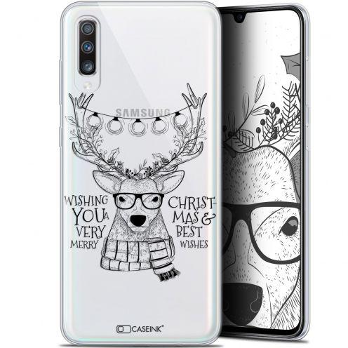 """Coque Gel Samsung Galaxy A70 (6.7"""") Extra Fine Noël 2017 - Cerf Hipster"""