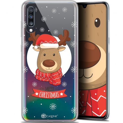 "Coque Gel Samsung Galaxy A70 (6.7"") Extra Fine Noël 2017 - Cerf à Echarpe"