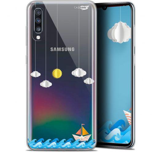 """Coque Gel Samsung Galaxy A70 (6.7"""") Extra Fine Motif -  Petit Bateau en Mer"""