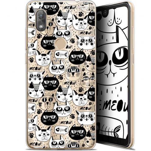 "Coque Gel Wiko View 2 (6"") Extra Fine Motif -  Chat Noir Chat Blanc"