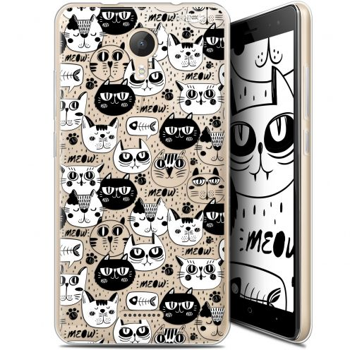 """Coque Gel Wiko Jerry 2 (5.0"""") Extra Fine Motif -  Chat Noir Chat Blanc"""
