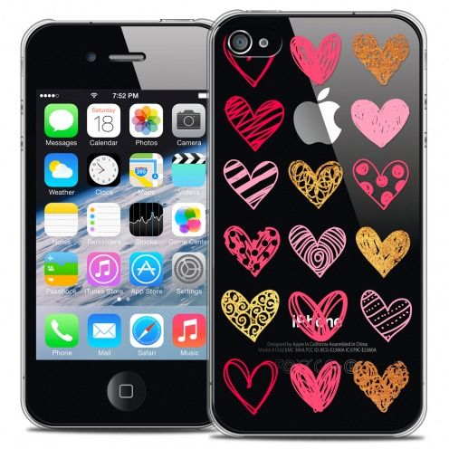 Coque Crystal iPhone 4/4s Extra Fine Sweetie - Doodling Hearts