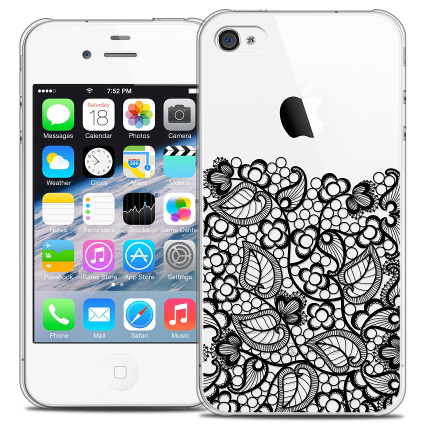 Coque Crystal iPhone 4/4s Extra Fine Spring - Bas dentelle Noir