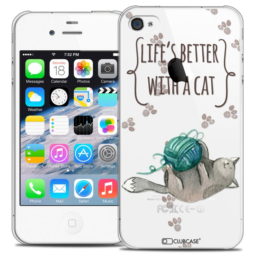 Coque Crystal iPhone 4/4s Extra Fine Quote - Life's Better With a Cat