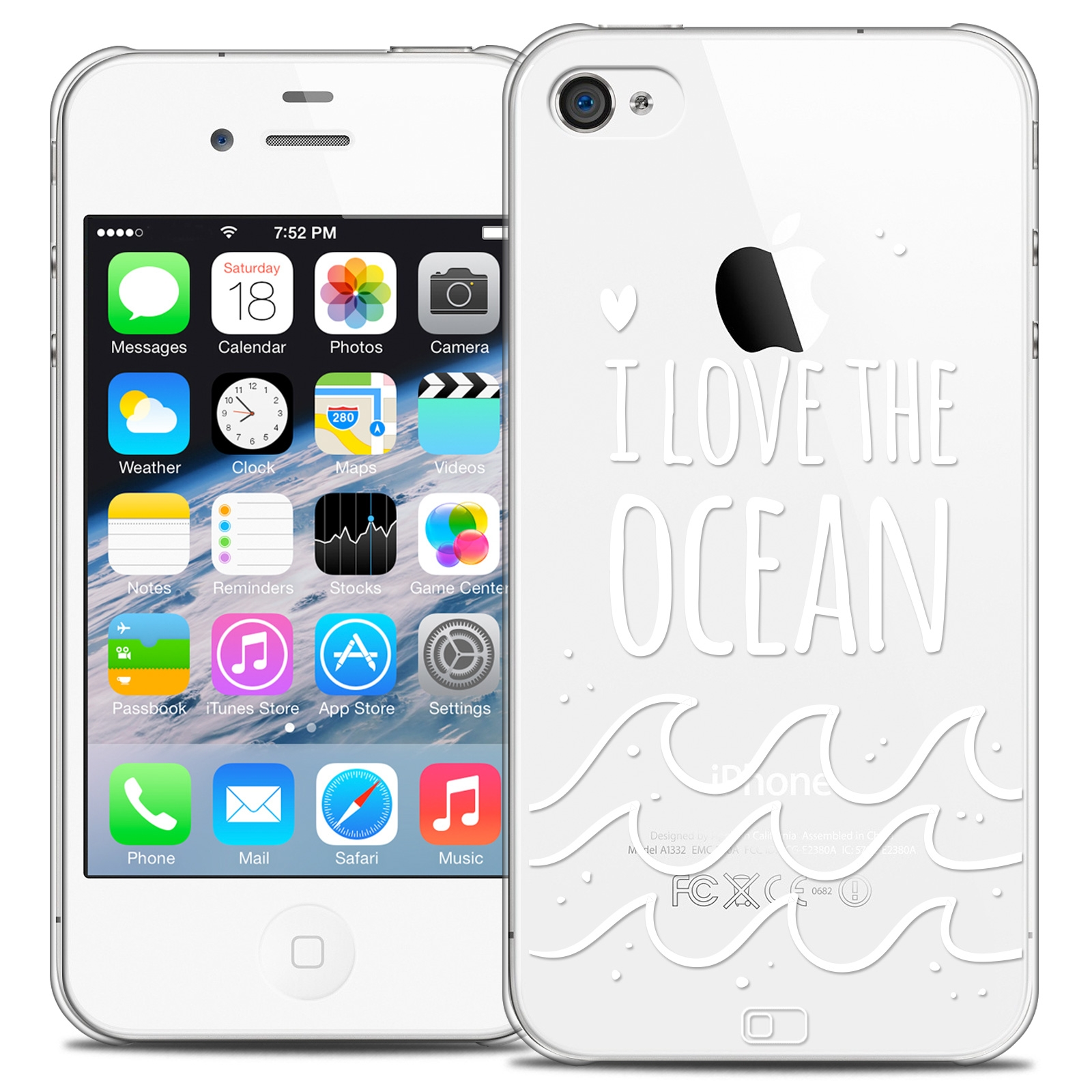 coque crystal iphone 4 4s extra fine summer i love ocean