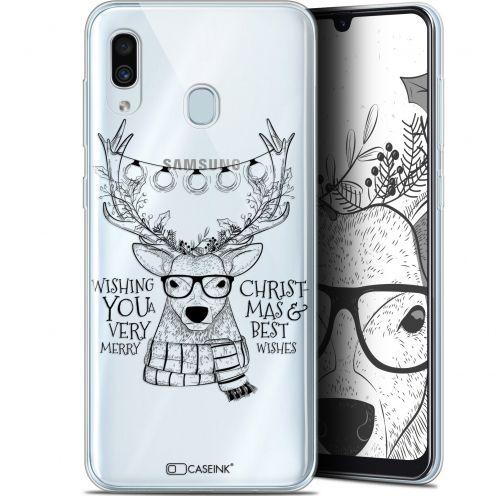 """Coque Gel Samsung Galaxy A30 (6.4"""") Extra Fine Noël 2017 - Cerf Hipster"""