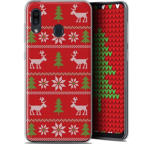 """Coque Gel Samsung Galaxy A30 (6.4"""") Extra Fine Noël 2017 - Couture Rouge"""