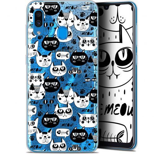 "Coque Gel Samsung Galaxy A30 (6.4"") Extra Fine Motif - Chat Noir Chat Blanc"
