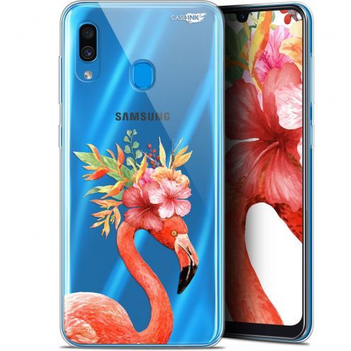"Coque Gel Samsung Galaxy A30 (6.4"") Extra Fine Motif - Flamant Rose Fleuri"