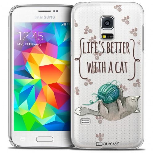 Coque Crystal Galaxy S5 Mini Extra Fine Quote - Life's Better With a Cat