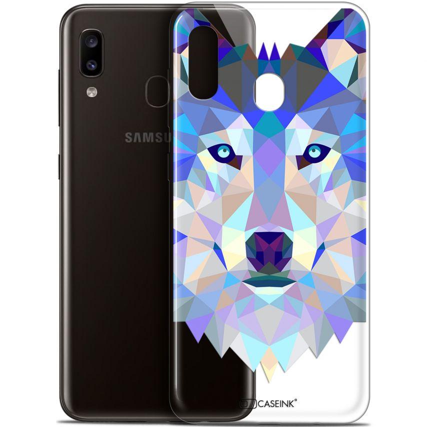 "Coque Gel Samsung Galaxy A20 (6.4"") Extra Fine Polygon Animals - Loup"