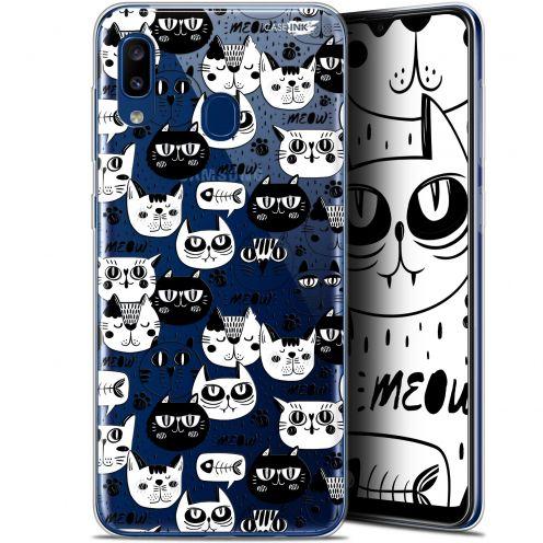 "Coque Gel Samsung Galaxy A20 (6.4"") Extra Fine Motif - Chat Noir Chat Blanc"