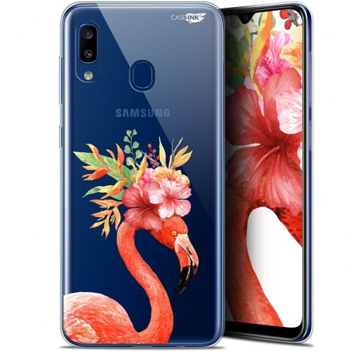 "Coque Gel Samsung Galaxy A20 (6.4"") Extra Fine Motif - Flamant Rose Fleuri"