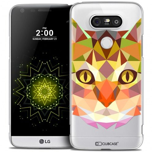 Coque Crystal LG G5 Extra Fine Polygon Animals - Chat