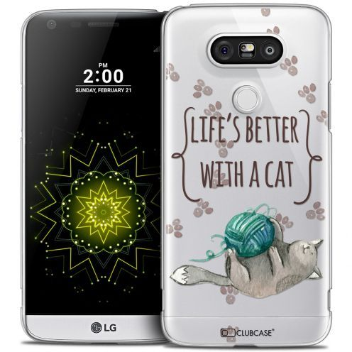Coque Crystal LG G5 Extra Fine Quote - Life's Better With a Cat