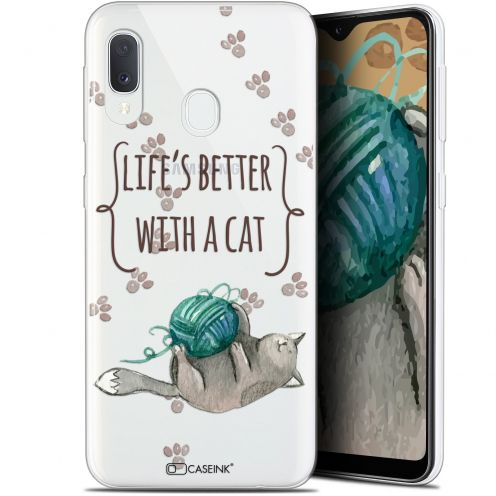 "Coque Gel Samsung Galaxy A20E (5.8"") Extra Fine Quote - Life's Better With a Cat"