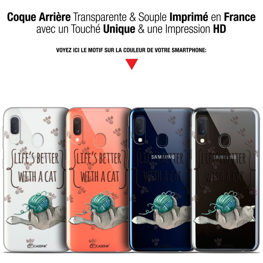 """Coque Gel Samsung Galaxy A20E (5.8"""") Extra Fine Quote - Life's Better With a Cat"""