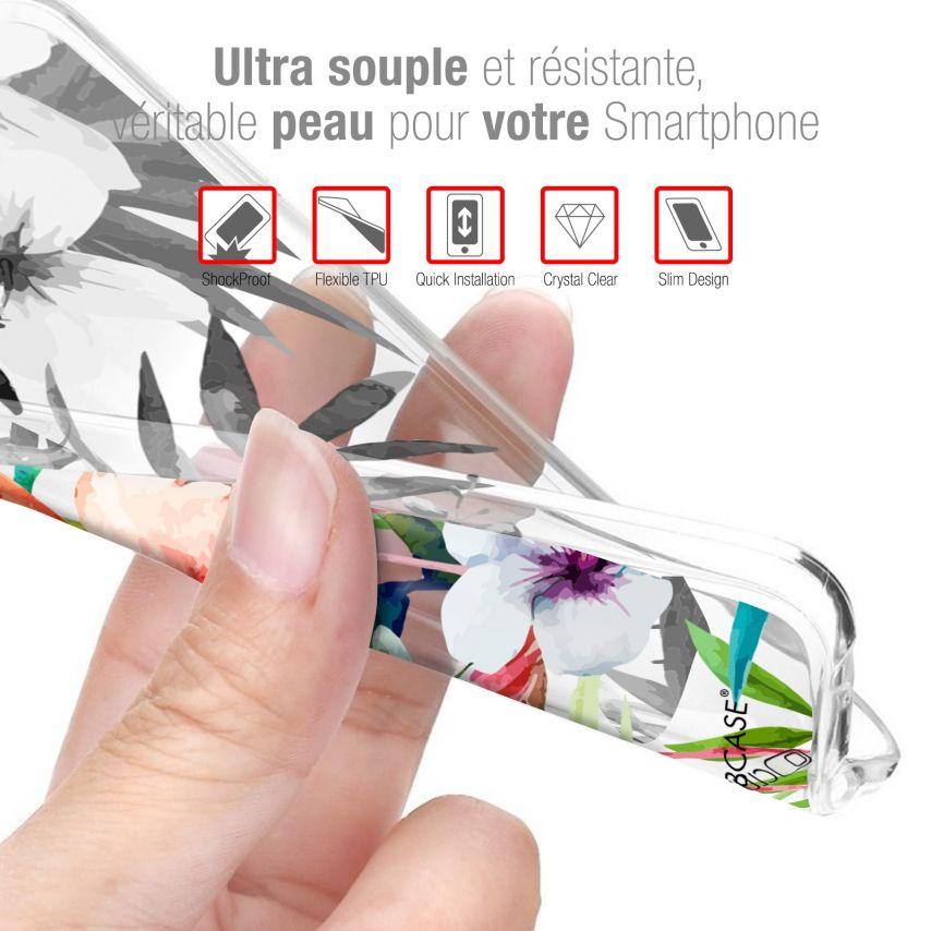 """Coque Gel Samsung Galaxy A20E (5.8"""") Extra Fine Motif - Flamant Rose Fleuri"""