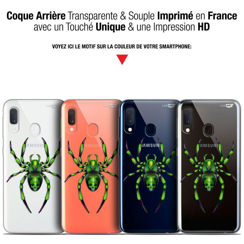 """Coque Gel Samsung Galaxy A20E (5.8"""") Extra Fine Motif - Arraignée Verte"""