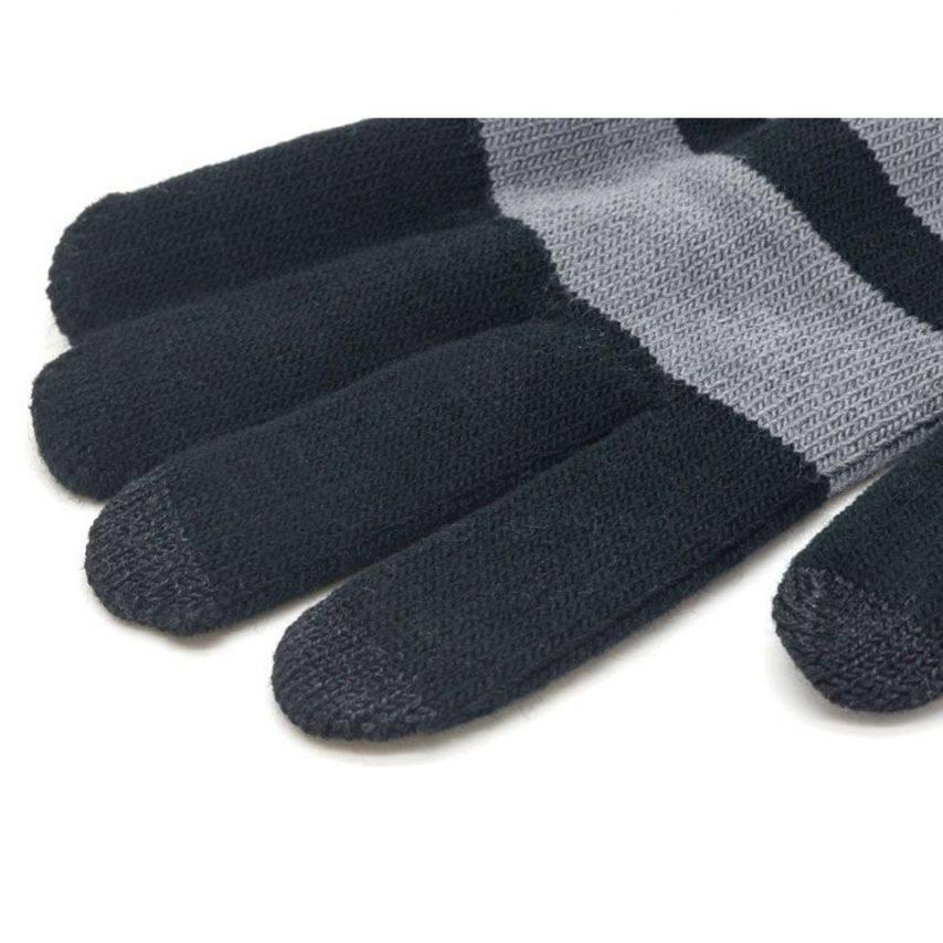 Vue complémentaire de iTouch - Gants tactiles spécial iPhone Noir & Gris - Taille M