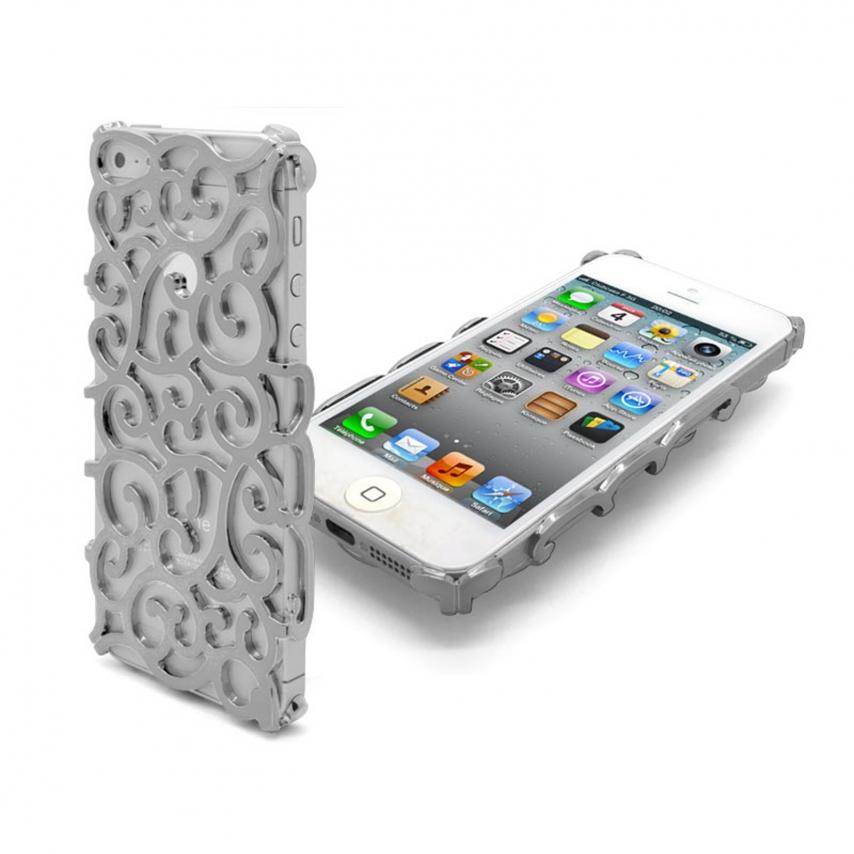 Vue complémentaire de Coque iPhone 5 Rococo Design Argent
