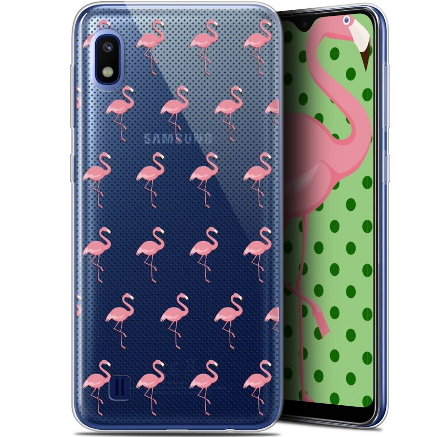 """Coque Gel Samsung Galaxy A10 (6.2"""") Extra Fine Pattern - Les flamants Roses Dots"""