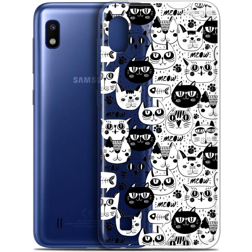 "Coque Gel Samsung Galaxy A10 (6.2"") Extra Fine Motif - Chat Noir Chat Blanc"